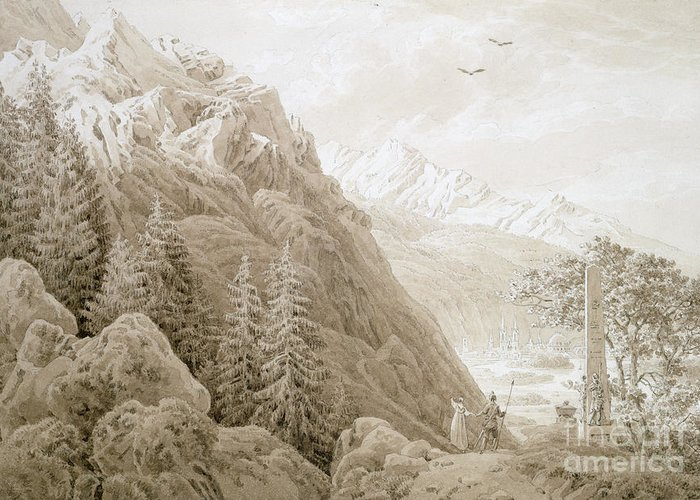 Landscape Greeting Card featuring the painting Autumn by Caspar David Friedrich