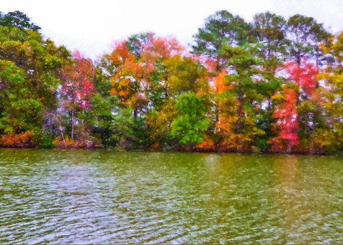 Background Greeting Card featuring the painting Autumn Color In Norfolk Botanical Garden 3 by Lanjee Chee