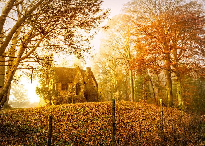 Appalachia Greeting Card featuring the photograph Autumn Cottage by Debra and Dave Vanderlaan