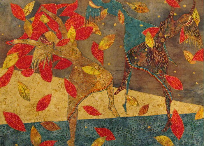 Art Quilts Tapestries - Textiles Greeting Card featuring the tapestry - textile Autumn Dance by Lynda K Boardman