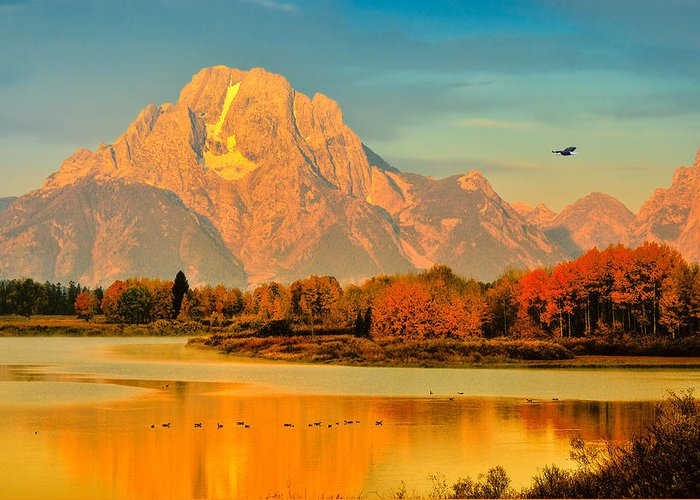 Oxbow Bend Greeting Card featuring the photograph Autumn Dawn At Oxbow Bend by Greg Norrell