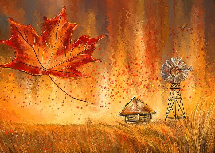 Reds Of Autumn Paintings Greeting Cards