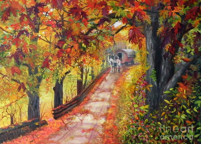 Scenery Greeting Card featuring the painting Autumn Dreams by Lora Duguay