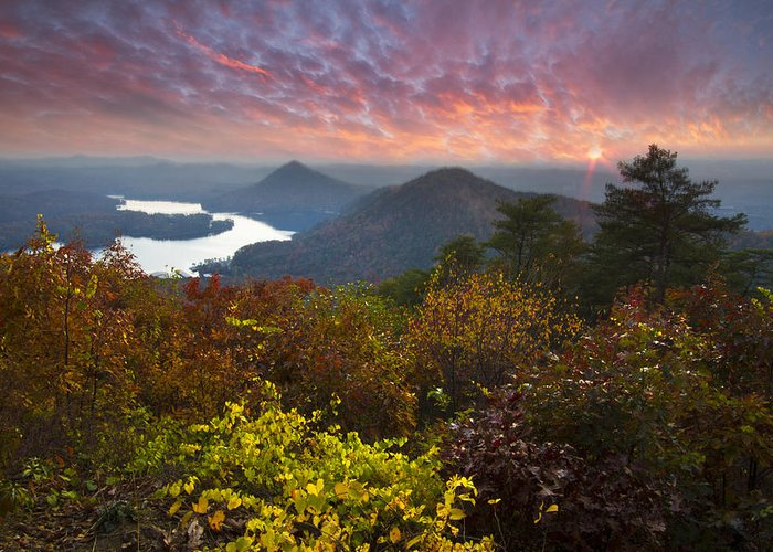 Appalachia Greeting Card featuring the photograph Autumn Evening Star by Debra and Dave Vanderlaan