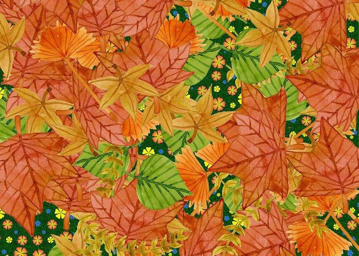 Autumn Greeting Card featuring the digital art Autumn Floor by Gaspar Avila