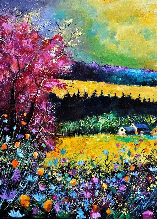 Landscape Greeting Card featuring the painting Autumn Flowers by Pol Ledent