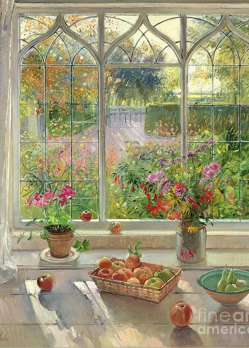 Still Life; Window Ledge; Windowsill; Basket Of Apples; Fruit; Vase Of; Pot Plant; House; Garden Greeting Card featuring the painting Autumn Fruit And Flowers by Timothy Easton