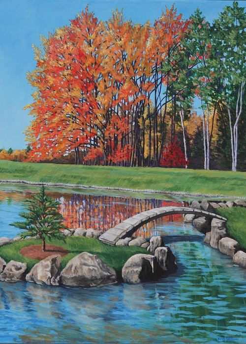 Landscape Greeting Card featuring the painting Autumn Glory At The Arboretum by Penny Birch-Williams