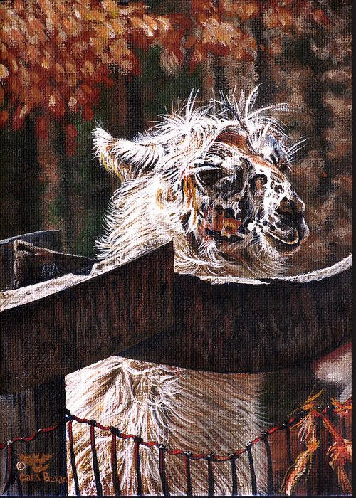 Llama Greeting Card featuring the painting Autumn Greeting by Cara Bevan