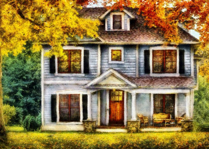 Savad Greeting Card featuring the photograph Autumn - House - Cottage by Mike Savad