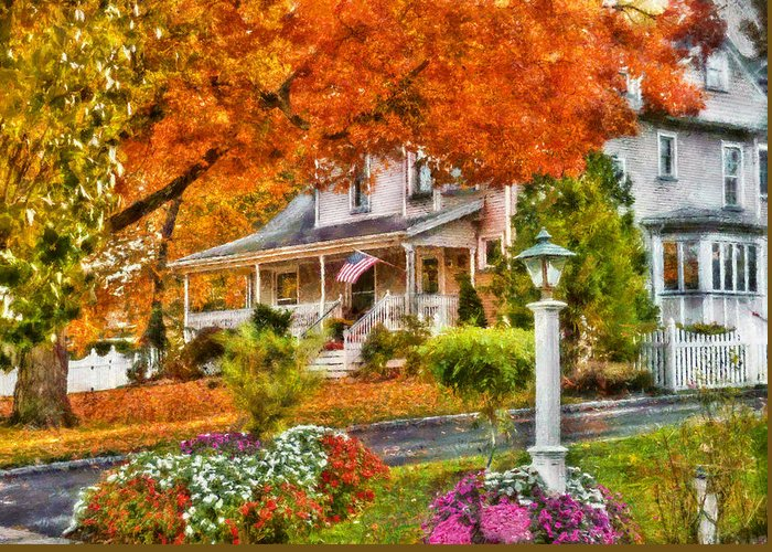 Hdr Greeting Card featuring the photograph Autumn - House - The Beauty Of Autumn by Mike Savad