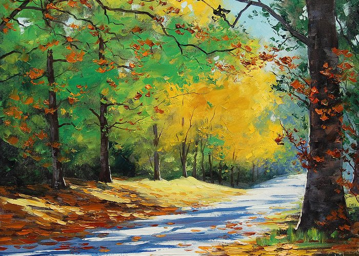 Fall Greeting Card featuring the painting Autumn In Mt Wilson by Graham Gercken