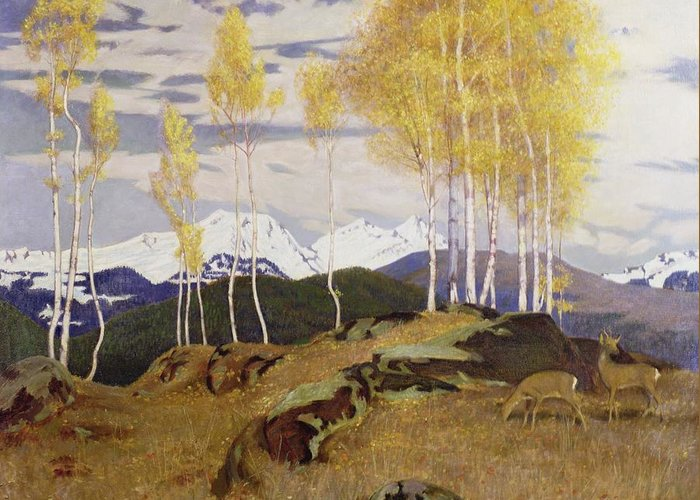 Snow Cap Greeting Card featuring the painting Autumn In The Mountains by Adrian Scott Stokes