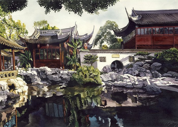 Garden Greeting Card featuring the painting Autumn Lake Reflection by Alfred Ng