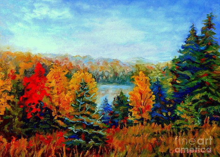 Quebec Artist Greeting Card featuring the painting Autumn Landscape Quebec Red Maples And Blue Spruce Trees by Carole Spandau