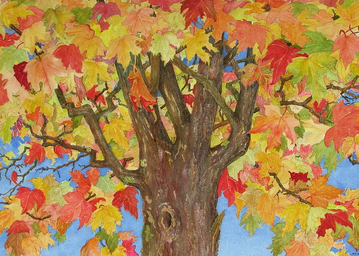 Leaves Greeting Card featuring the painting Autumn Leaves 1 by Mary Ellen Mueller Legault