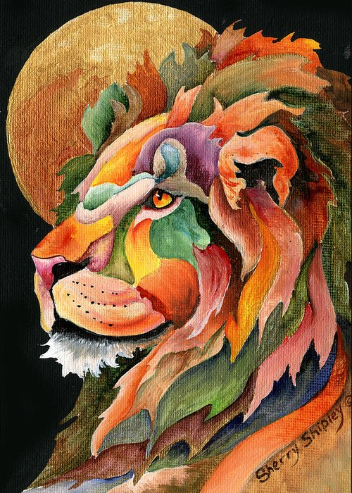 Lion Greeting Card featuring the painting Autumn Lion by Sherry Shipley
