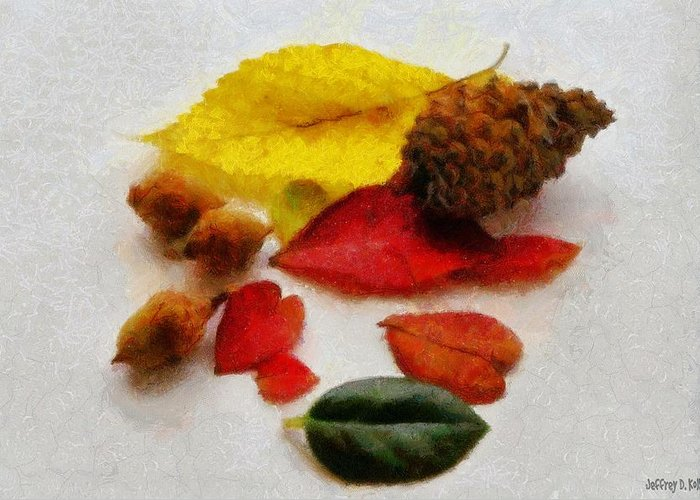 Acorn Greeting Card featuring the painting Autumn Medley by Jeff Kolker