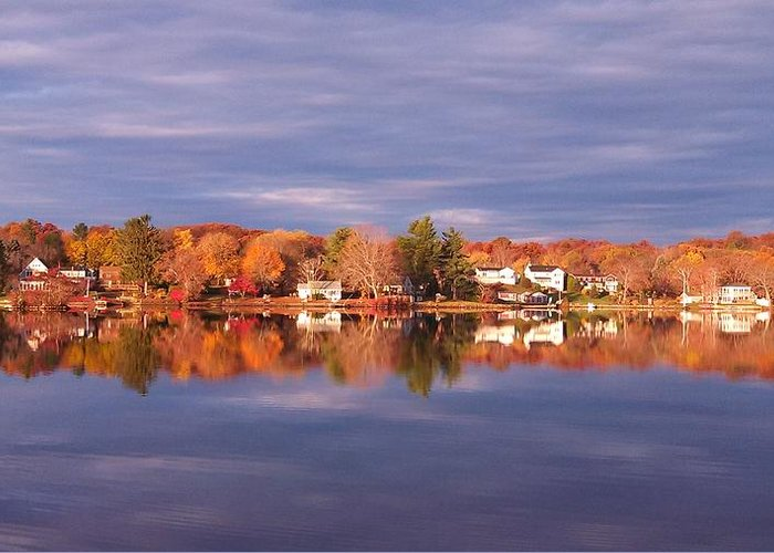 Lake Greeting Card featuring the photograph Autumn Mirror by Sandra Johnson