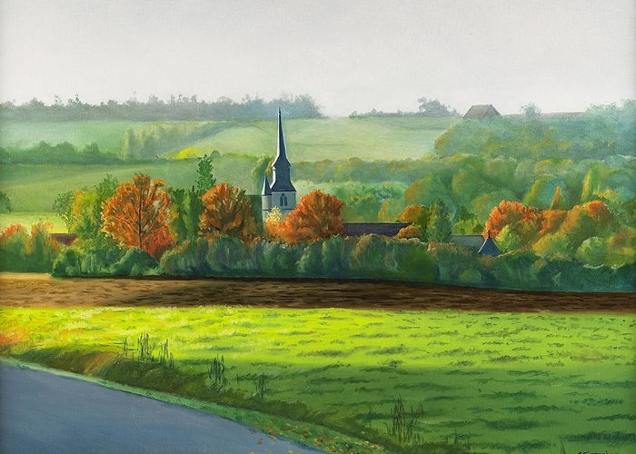 Autumn Greeting Card featuring the painting Autumn Morning At St Ulphace by Christian Simonian