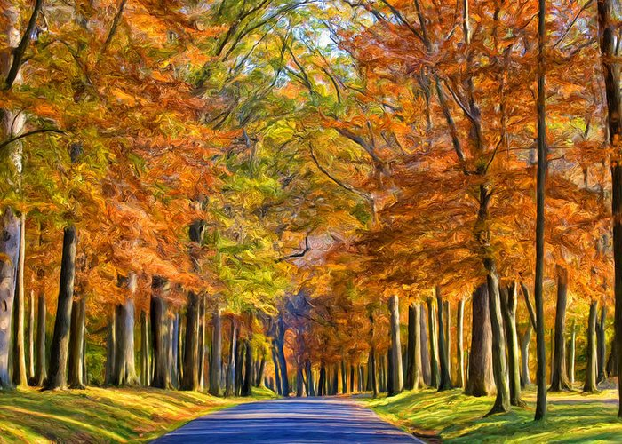 Autumn Greeting Card featuring the painting Autumn Morning by Dominic Piperata