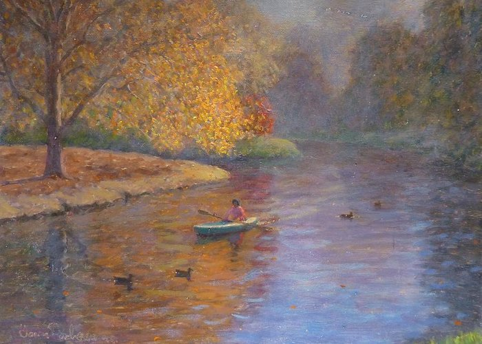 Autumn Greeting Card featuring the painting Autumn On Avon Nz. by Terry Perham