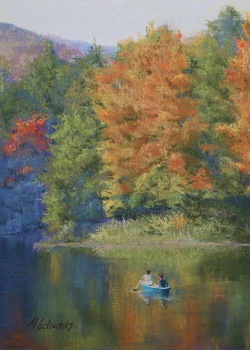 Autumn Greeting Card featuring the pastel Autumn On The Lake by Marna Edwards Flavell