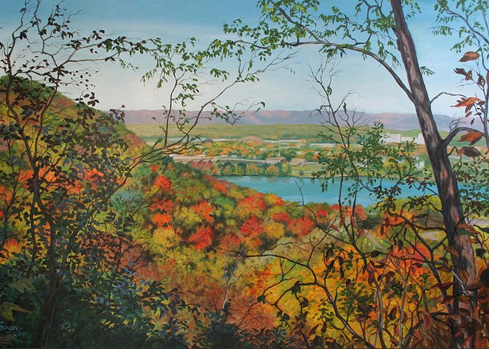 Landscape Greeting Card featuring the painting Autumn Panorama by Mary Singer