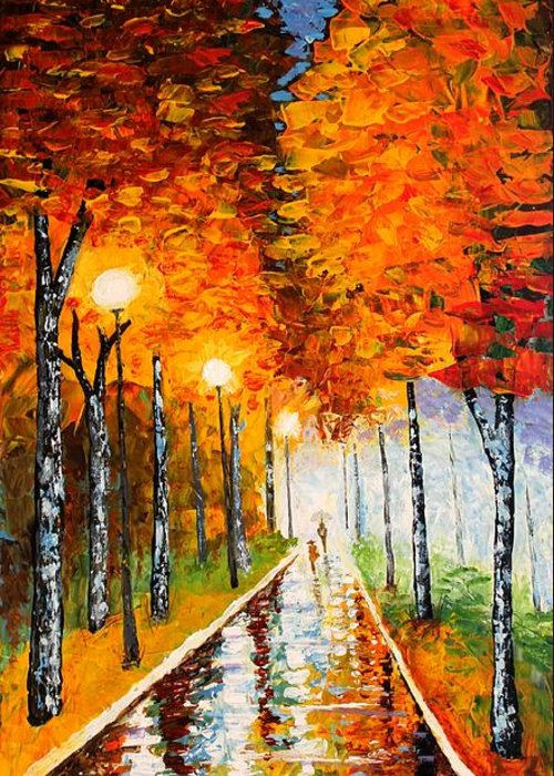 Autumn Greeting Card featuring the painting Autumn Park Night Lights Palette Knife by Georgeta Blanaru