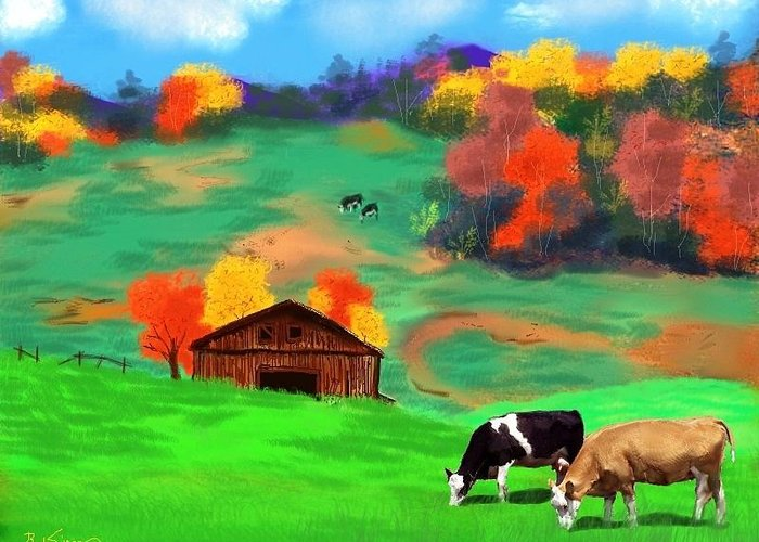 Autumn Greeting Card featuring the digital art Autumn Pastures by Brad Simpson