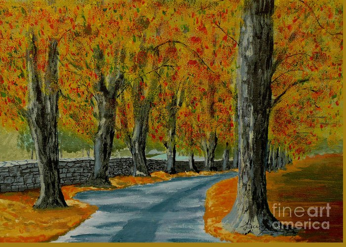 Autumn Greeting Card featuring the painting Autumn Pathway by Anthony Dunphy