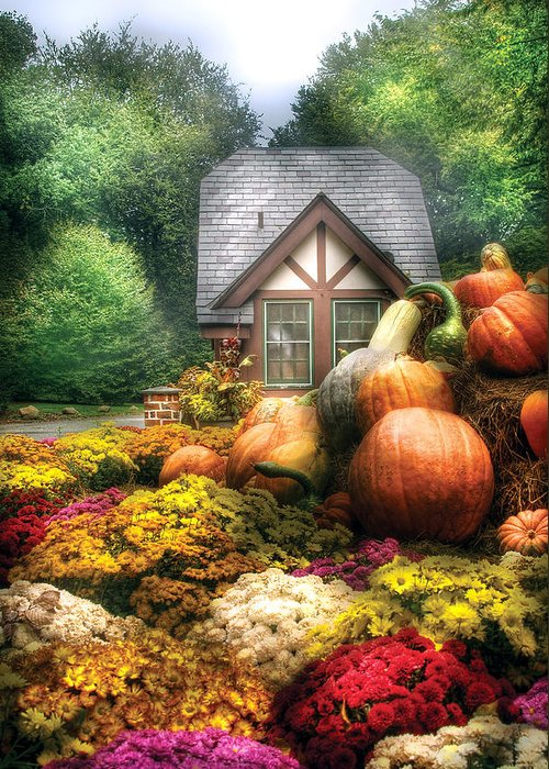 Savad Greeting Card featuring the photograph Autumn - Pumpkin - This Years Harvest Was Awesome by Mike Savad