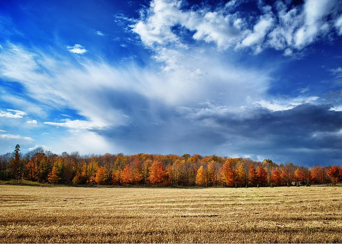 Door County Greeting Card featuring the photograph Autumn Rain Over Door County by Ever-Curious Photography