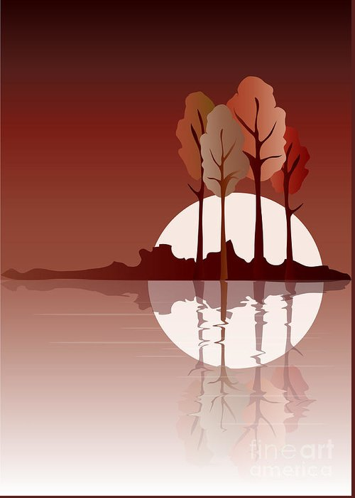 Art Greeting Card featuring the digital art Autumn Reflected by Jane Rix