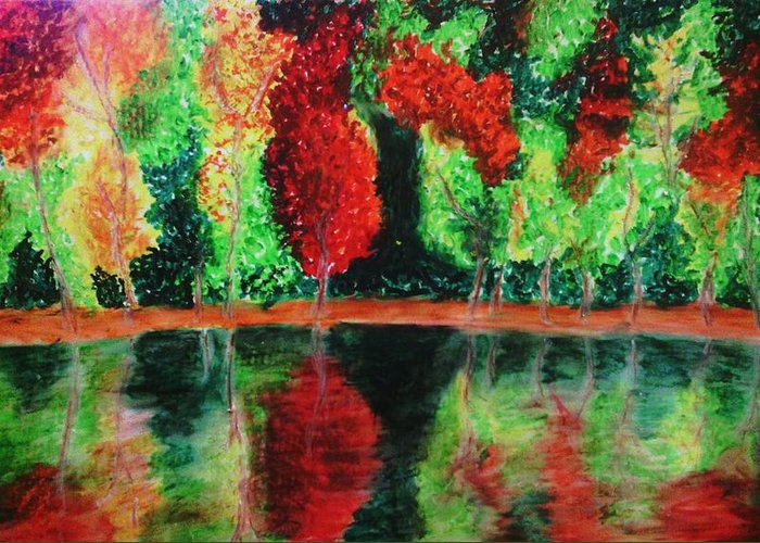 Autumn Greeting Card featuring the drawing Autumn Reflection by Crystal Menicola