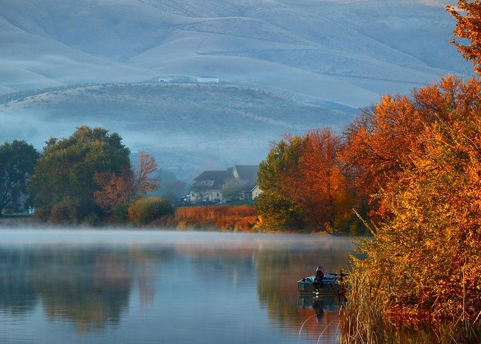 Autumn Greeting Card featuring the photograph Autumn Reflection by Lynn Hopwood