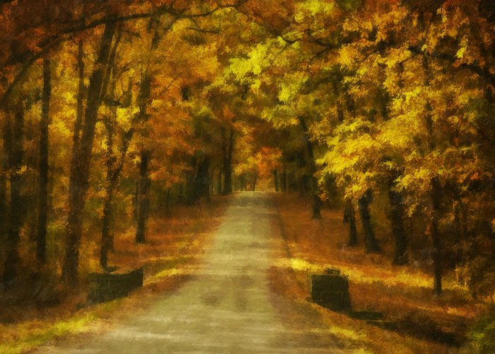 Autumn Greeting Card featuring the photograph Autumn Road by Mick Burkey