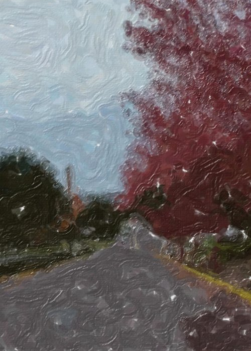 Autumn Greeting Card featuring the painting Autumn Road by Sergey Bezhinets