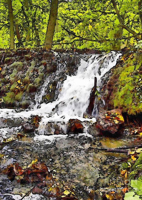 Autumn Greeting Card featuring the painting Autumn Scene With Waterfall In Forest by Odon Czintos