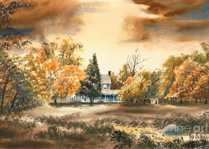 Autumn Sky No W103 Greeting Card featuring the painting Autumn Sky No W103 by Kip DeVore
