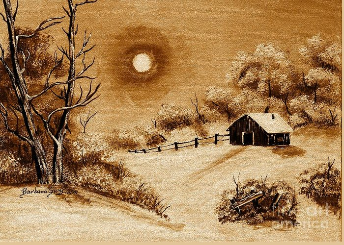 Autumn Snow Greeting Card featuring the painting Autumn Snow by Barbara Griffin