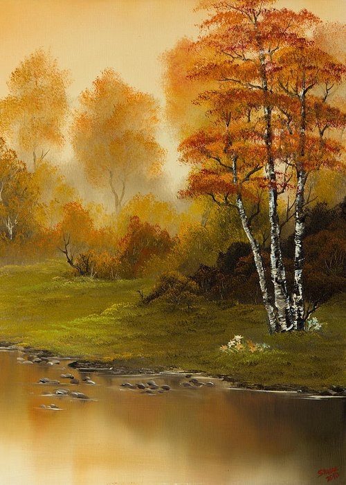Landscape Greeting Card featuring the painting Autumn Splendor by C Steele