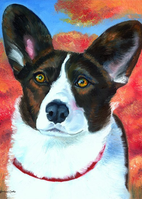 Welsh Corgi Cardigan Greeting Card featuring the painting Autumn Splendor by Lyn Cook