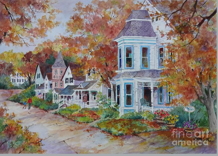 Autumn Townscape Greeting Card featuring the painting Autumn Stroll by Sherri Crabtree
