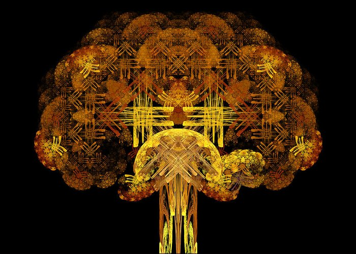 Fractal Greeting Card featuring the digital art Autumn Tree by Sandy Keeton