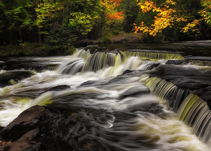Fall Greeting Card featuring the photograph Autumn Waterfall by Kevin Clifford
