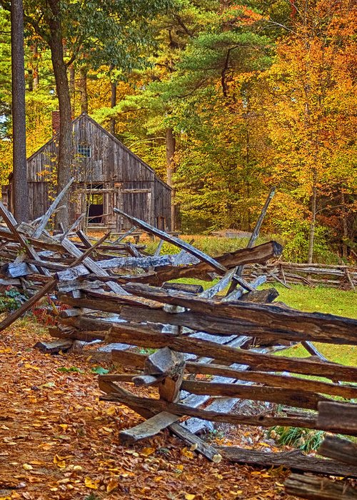 Autumn Greeting Card featuring the photograph Autumn Wooden Fence by Joann Vitali