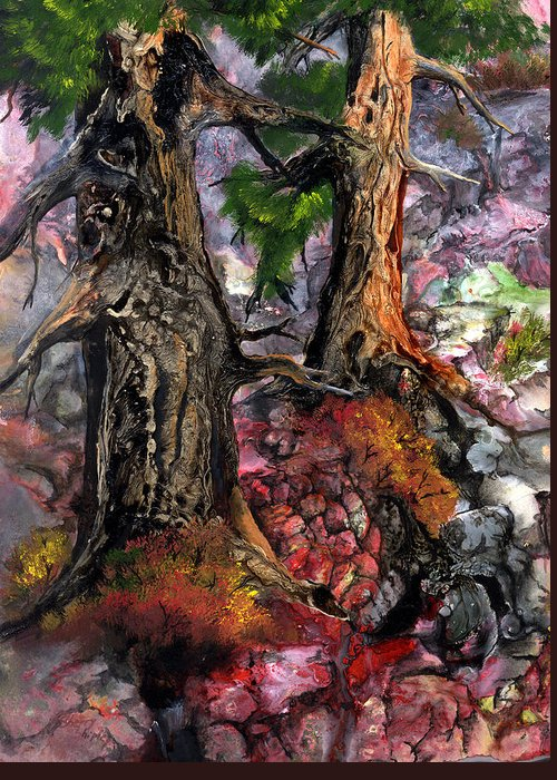 Trees Greeting Card featuring the painting Autumn Woods by Sherry Shipley