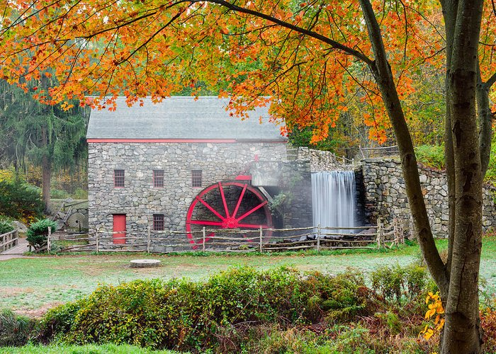 Grist Mill Greeting Card featuring the photograph Auutmn At The Grist Mill by Michael Blanchette