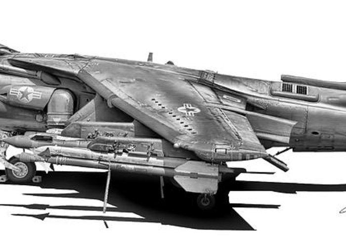 Av-8b Greeting Card featuring the digital art Av-8b Harrier by Dale Jackson